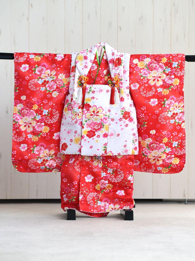 【七五三の着物レンタル】 3歳の女の子用被布セット 白と赤  品番:KD-48