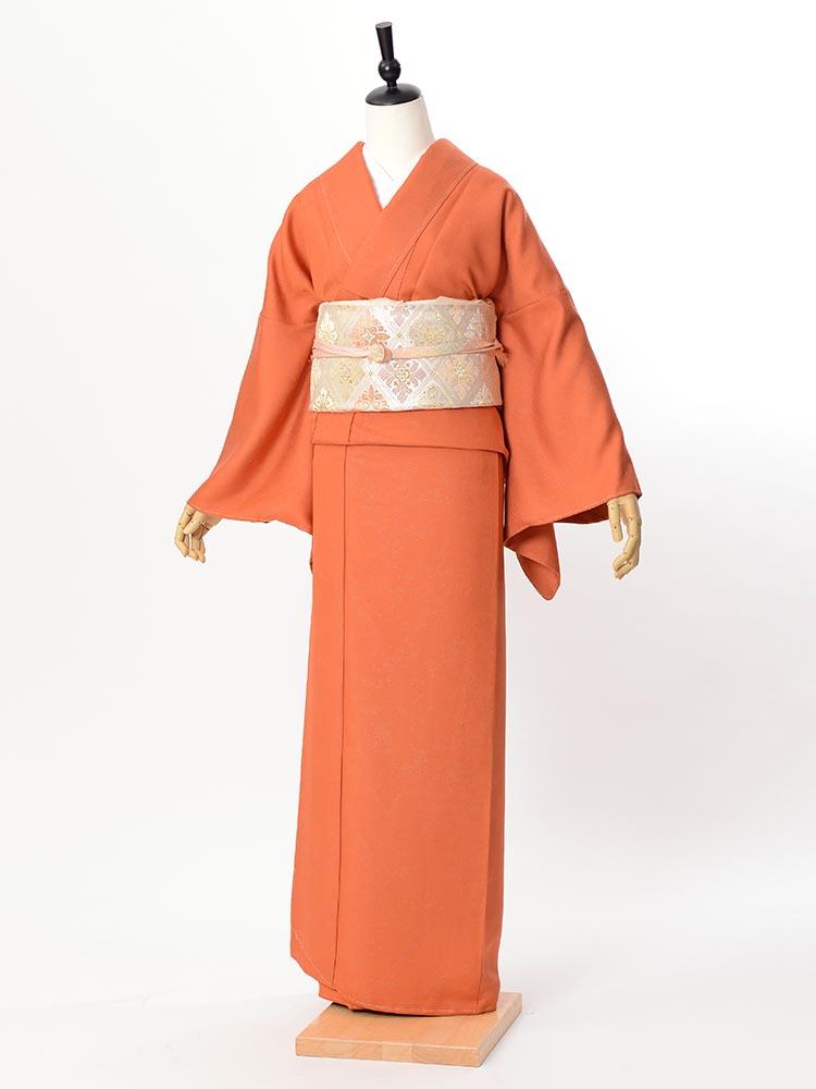 【高級色無地レンタル】muji-111 濃いオレンジ LLサイズ