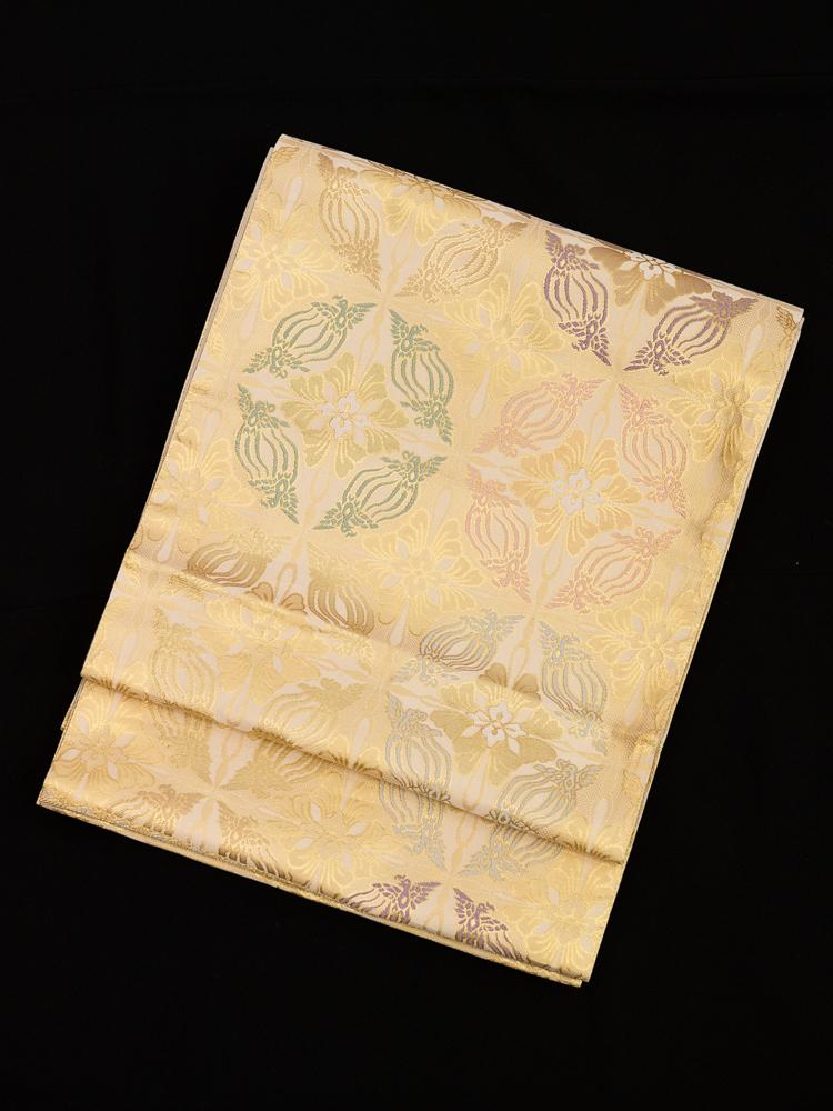 【高級帯レンタル】obi-144 袋帯レンタル「シャンパンゴールド・有職文様の鳥襷文」