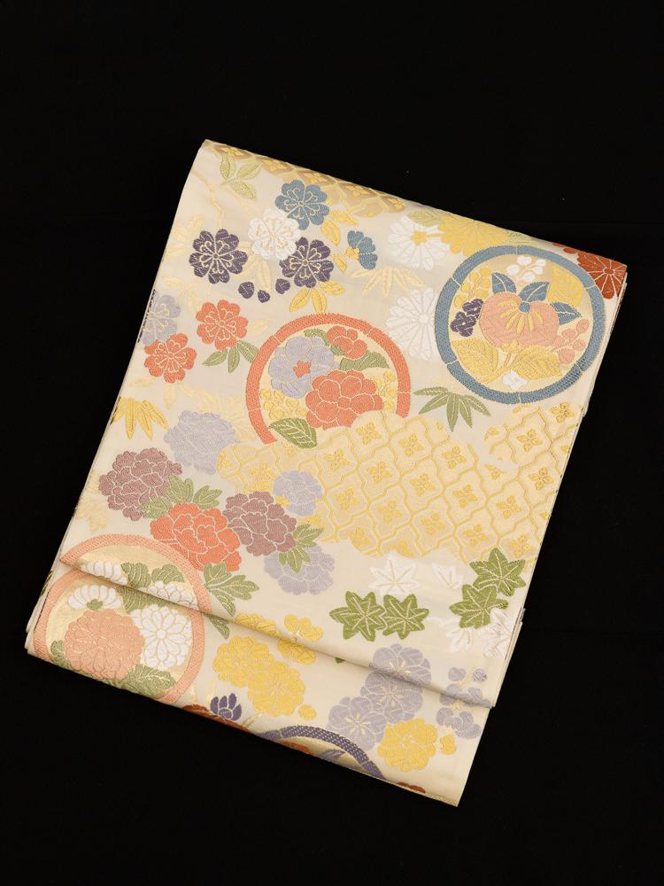 【高級帯レンタル】obi-146 袋帯レンタル「花尽くし古典柄」