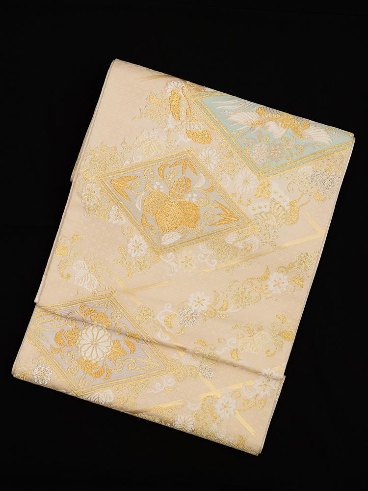 【高級帯レンタル】obi-148 高級袋帯レンタル「優しい雰囲気の菱文」