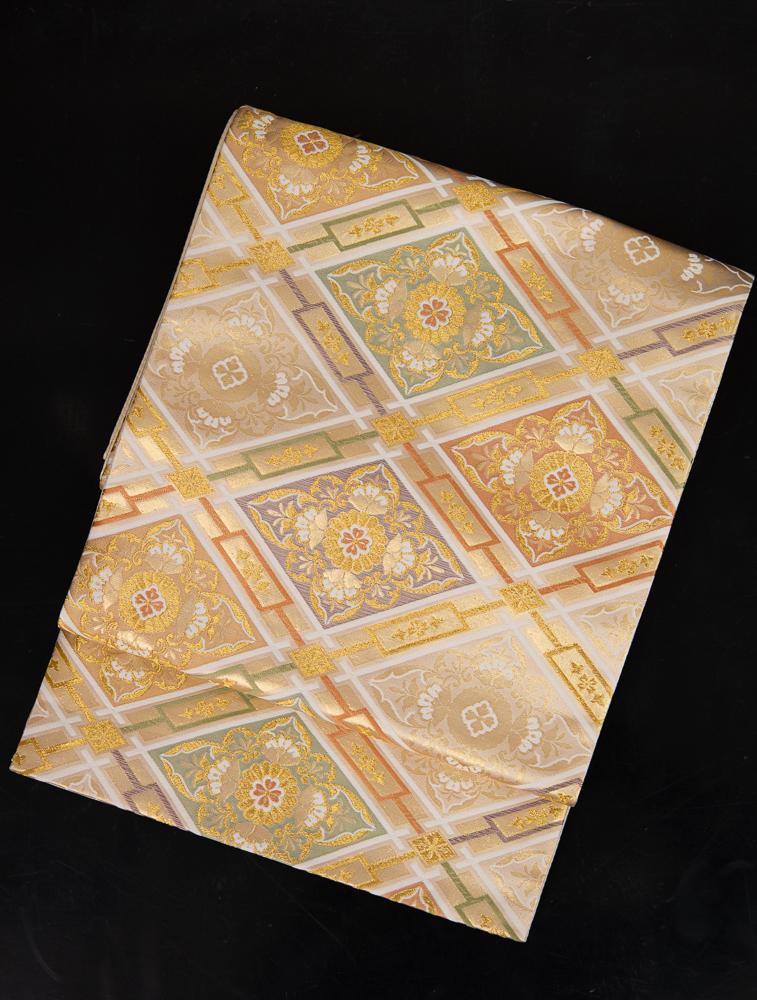 【高級帯レンタル】obi-151_long 長尺の袋帯レンタル「菱文・ロングの帯」 10286