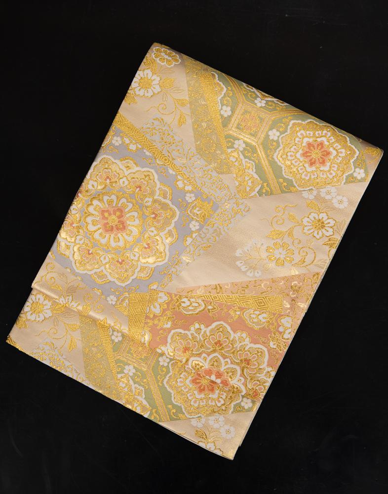 【高級帯レンタル】obi-152_long 長尺の袋帯レンタル「宝相華・ロングの帯」 10286