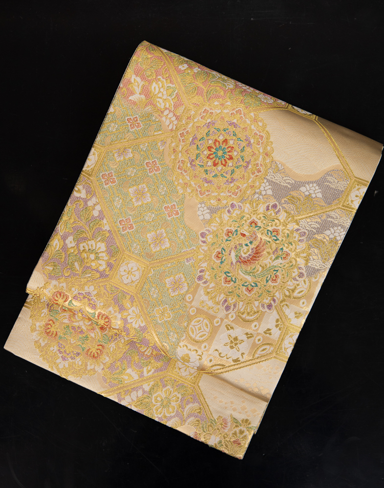 【高級帯レンタル】obi-153_long 長尺の袋帯レンタル「優しいゴールドベースの正倉院文様」 10286