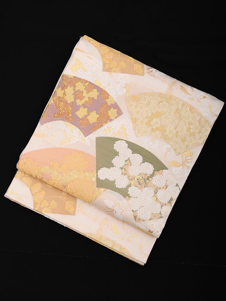 【高級帯レンタル】obi-23-203 山口美術織物謹製 地紙草花文 サイズ 地紙