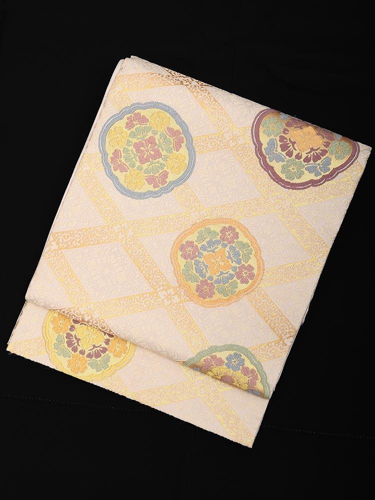【高級帯レンタル】obi-23-204 山口美術織物謹製 菱地茄子菓文 サイズ 菱