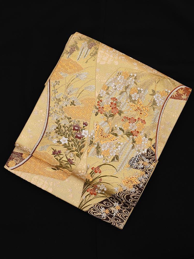 【高級帯レンタル】obi-23-207 加納幸謹製 琳派に蝶柄 金 サイズ 琳派に蝶