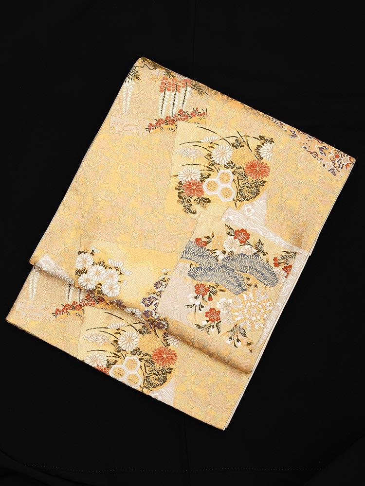 【高級帯レンタル】obi-23-212 加納幸謹製 押箔色紙重柄 ゴールド サイズ 押箔色紙重柄