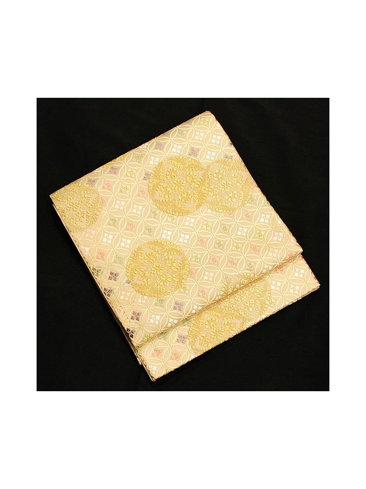 【高級帯レンタル】obi-23-214 山口美術織物 吉祥文様七宝柄 サイズ 七宝