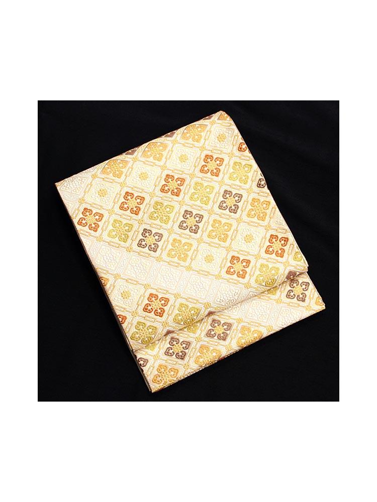 【高級帯レンタル】obi-23-219 河合美術織物謹製 小菱柄 サイズ 菱