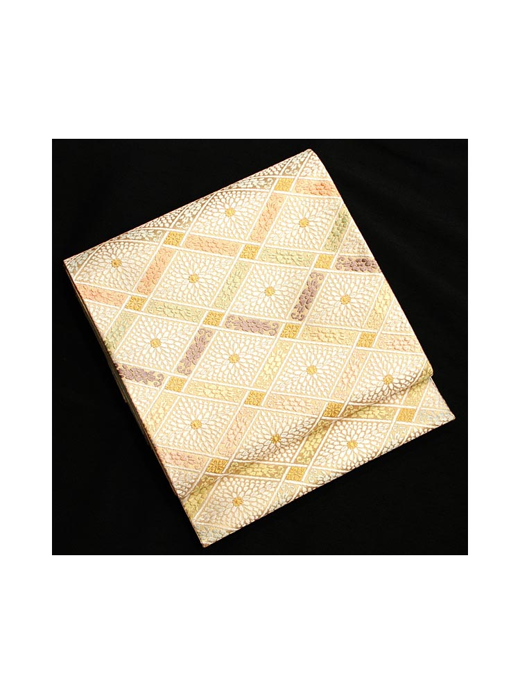 【高級帯レンタル】obi-23-220 河合美術織物謹製 菱・菊 サイズ 菱