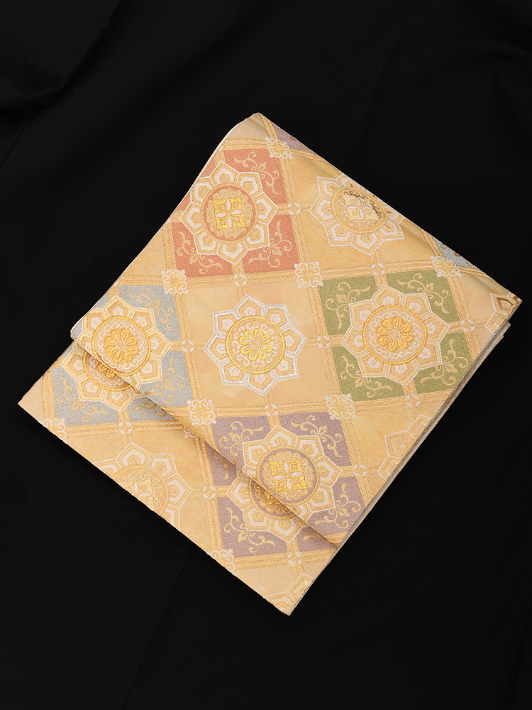 【高級帯レンタル】obi-23-221 高島織物謹製 金地 菱柄 サイズ 菱