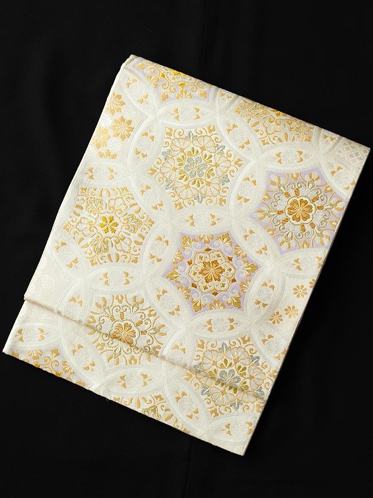 【高級帯レンタル】obi-23-222 高島織物謹製 白地 七宝 サイズ 七宝