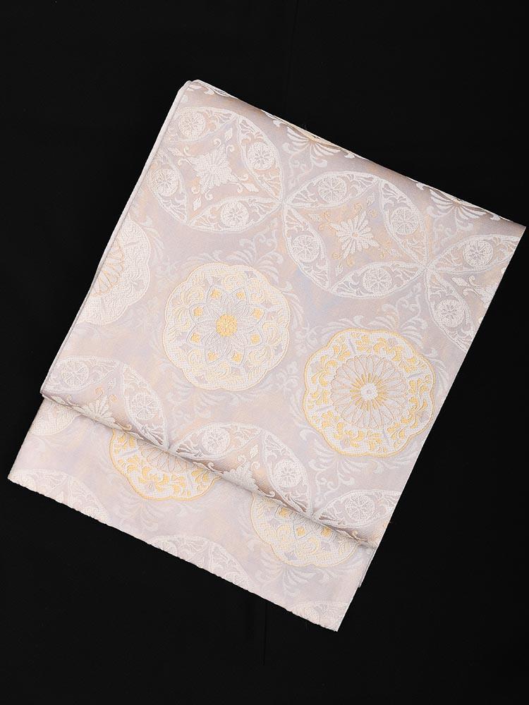 【高級帯レンタル】obi-23-223 高島織物謹製 グレー 七宝華文 サイズ 七宝