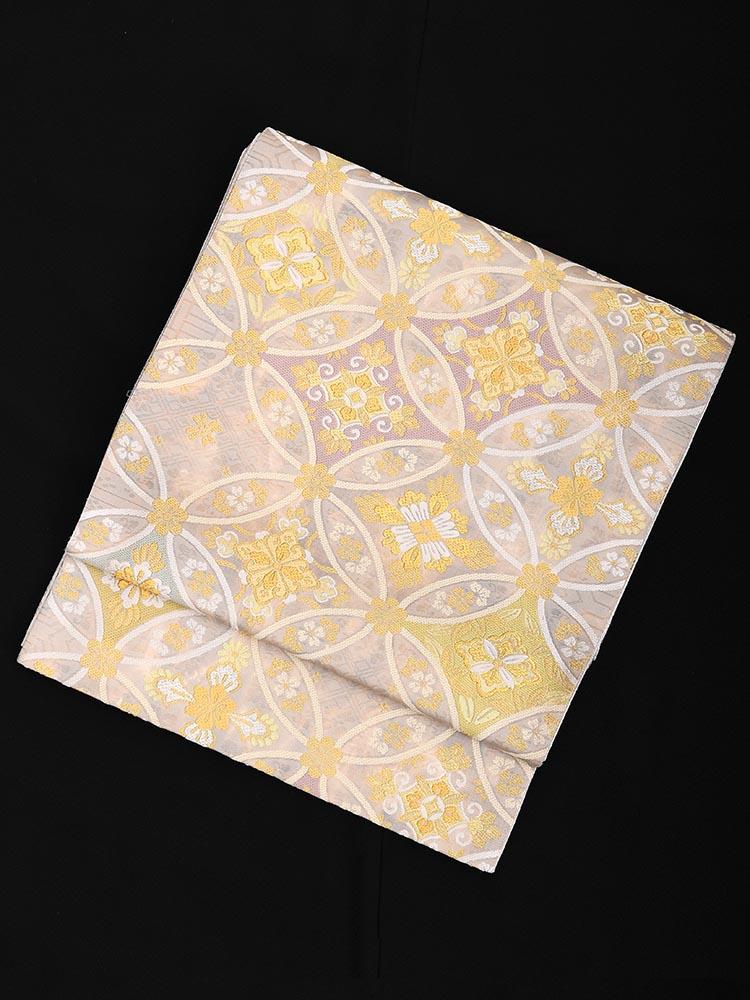 【高級帯レンタル】obi-23-224 高島織物謹製 グレー 七宝 サイズ 七宝
