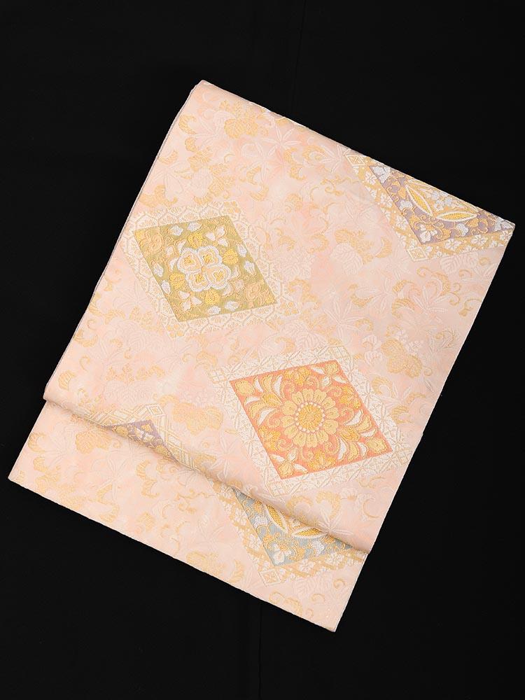 【高級帯レンタル】obi-23-225 高島織物謹製 ピンク 菱柄 サイズ 菱