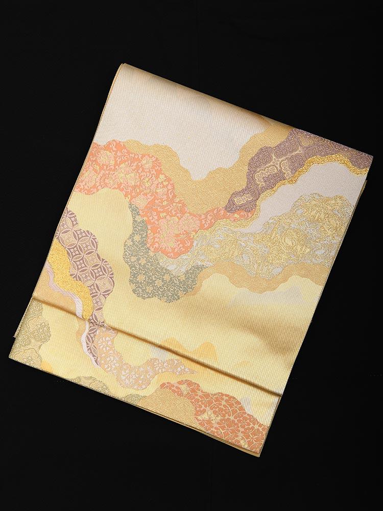 【高級帯レンタル】obi-23-237 とみや織物謹製 えずら箔 道長 サイズ 道長取り