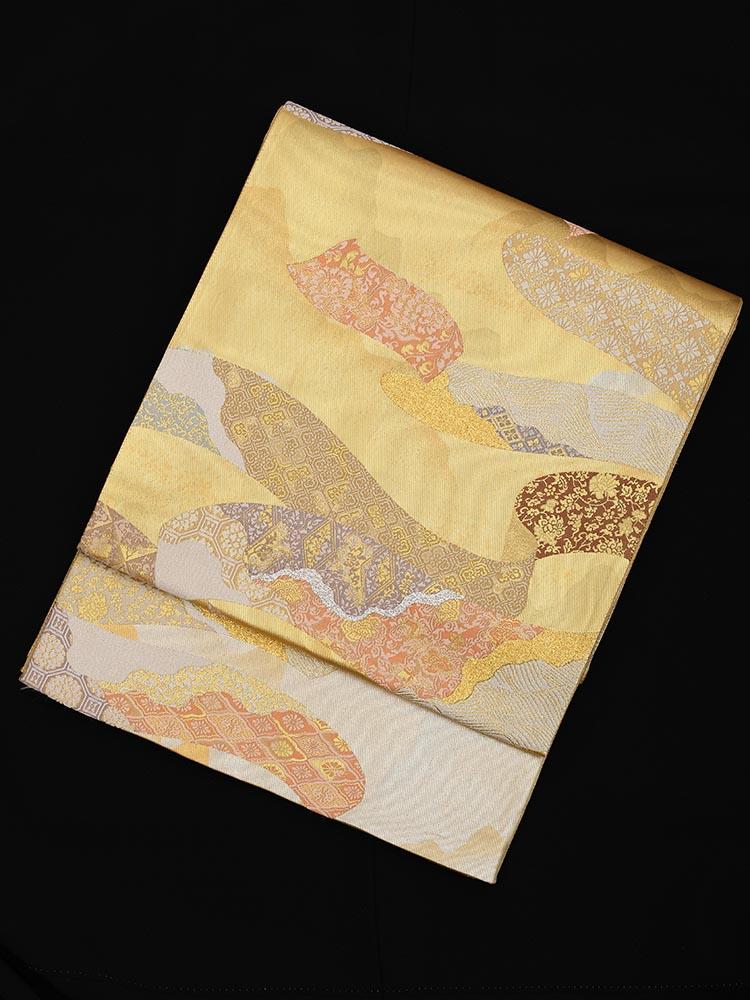 【高級帯レンタル】obi-23-240 とみや織物謹製 えずら箔 長尺 長尺サイズ 道長取り