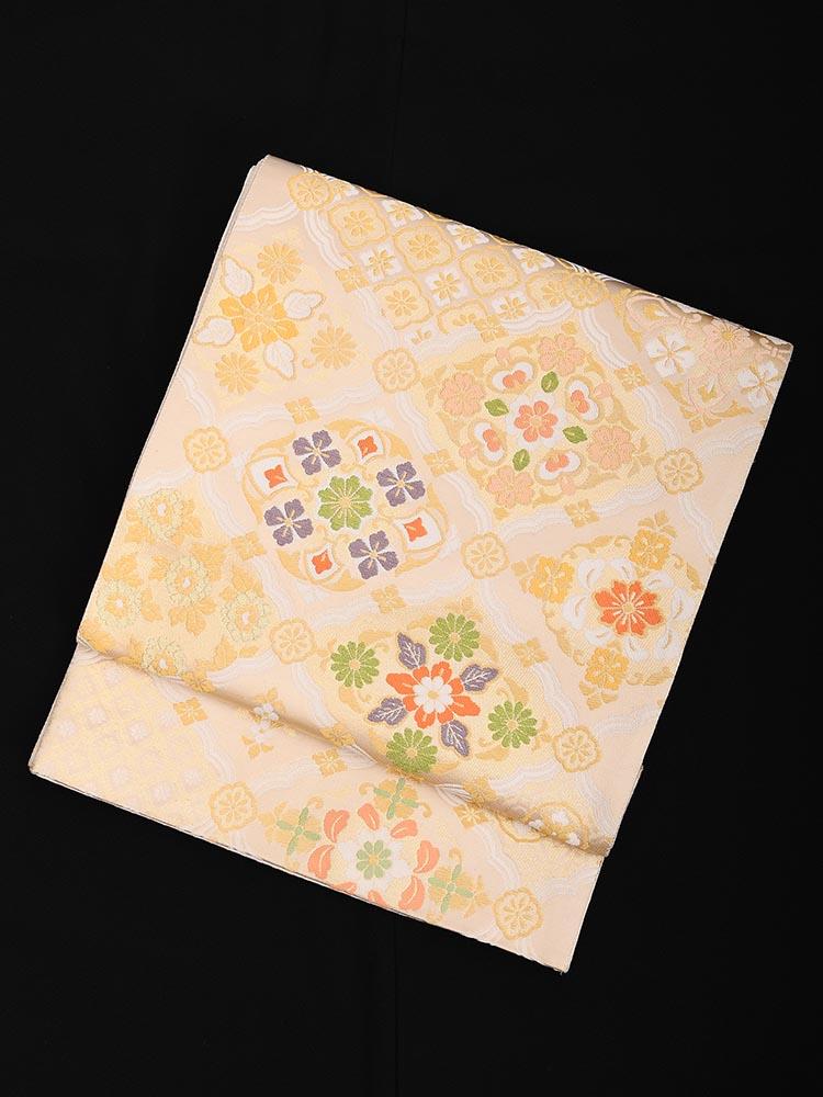 【高級帯レンタル】obi-23-241 高島織物謹製 金地 花菱 サイズ 花菱