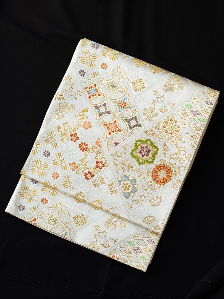 【高級帯レンタル】obi-23-242 高島織物謹製 白地 七宝・小花 サイズ 七宝・小花