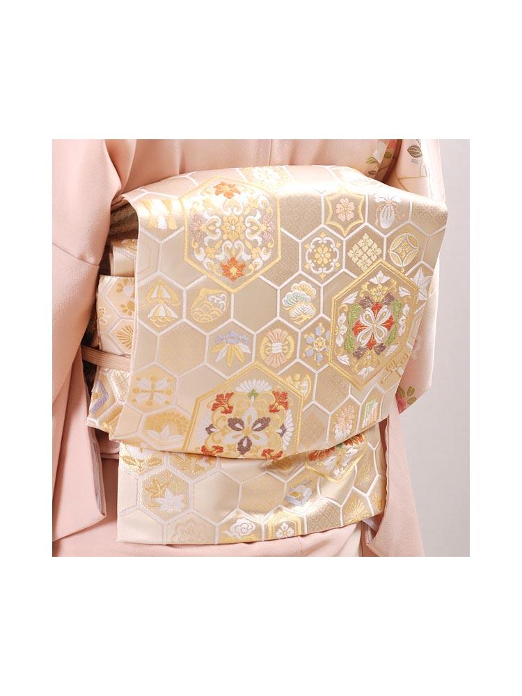 【高級帯レンタル】obi-23-243 高島織物謹製 亀甲柄 サイズ 亀甲