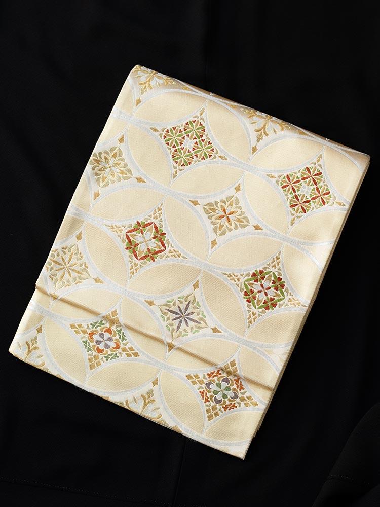 【高級帯レンタル】obi-23-244 高島織物謹製 大きい七宝柄 サイズ 七宝