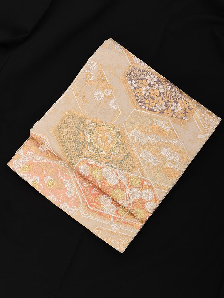 【高級帯レンタル】obi-23-245 加納幸謹製 吉祥文箱文 サイズ 吉祥文箱文