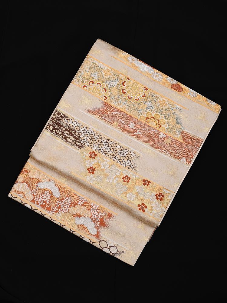 【高級帯レンタル】obi-23-246 加納幸謹製 吉祥横段文 サイズ 吉祥横段文