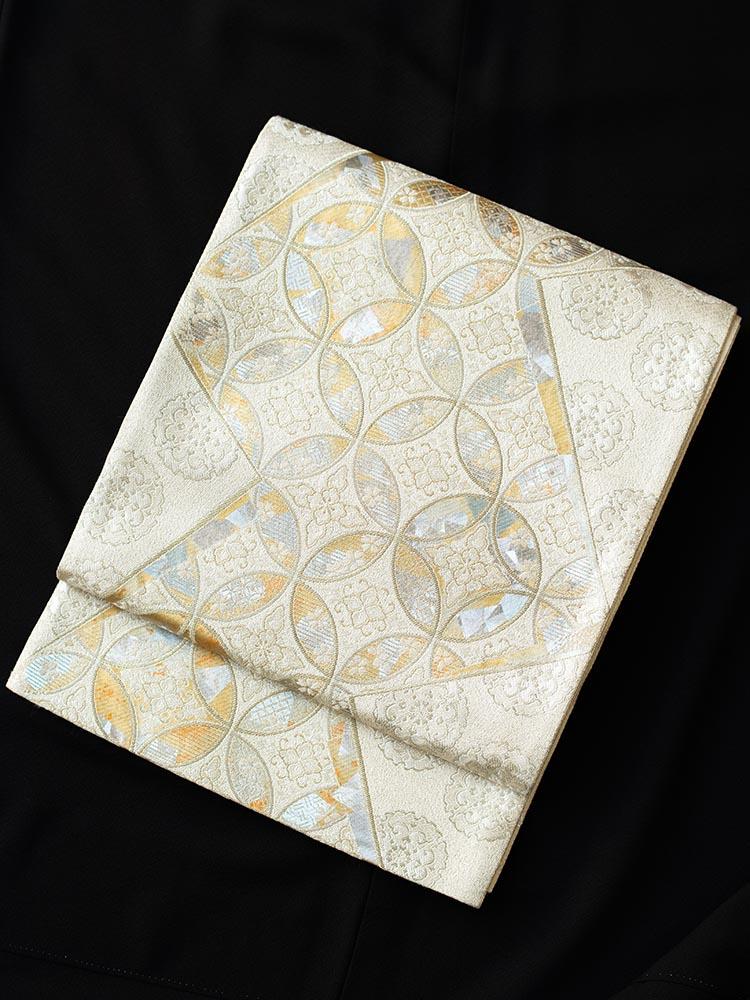 【高級帯レンタル】obi-23-250 厳選逸品 オーロラ箔 白 サイズ 七宝