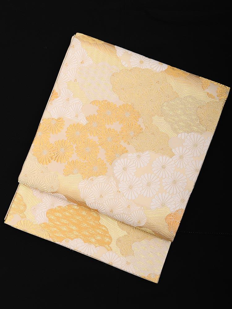 【高級帯レンタル】obi-23-253 山口美術織物謹製 雲取松菊重ね文 サイズ 松・菊