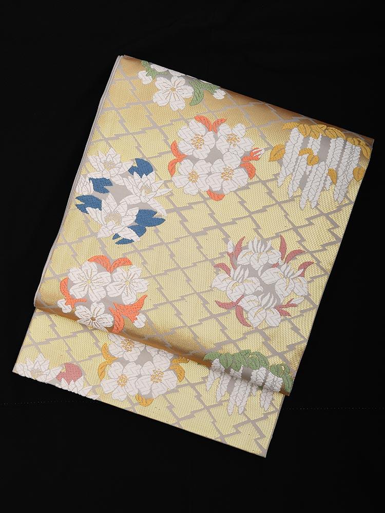 【高級帯レンタル】obi-23-254 山口美術織物謹製 松皮御印小花文 サイズ 小花
