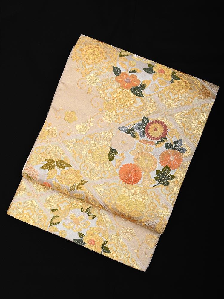 【高級帯レンタル】obi-23-257 とみや 菱に花々 サイズ 花々