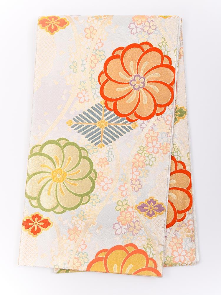 【高級振袖帯レンタル】obi-23-503 西陣織・ねじり梅 サイズ ねじり梅・桜
