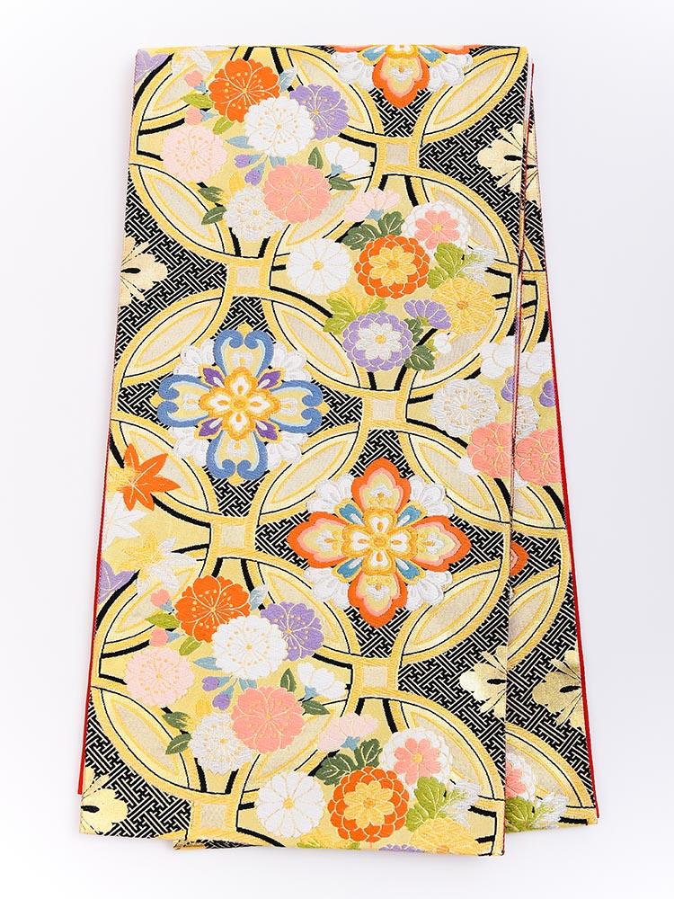 【高級振袖帯レンタル】obi-23-516 西陣織・長尺帯・七宝文様 サイズ 七宝と花柄