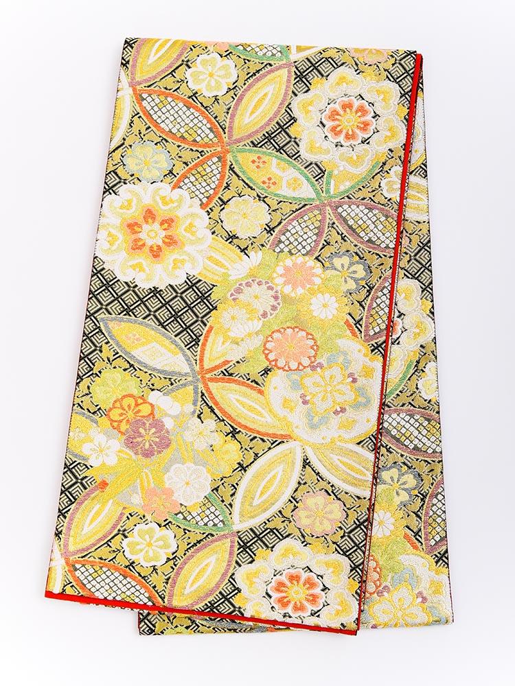【高級振袖帯レンタル】obi-23-517 西陣織・長尺帯・花と七宝 サイズ 七宝と花々