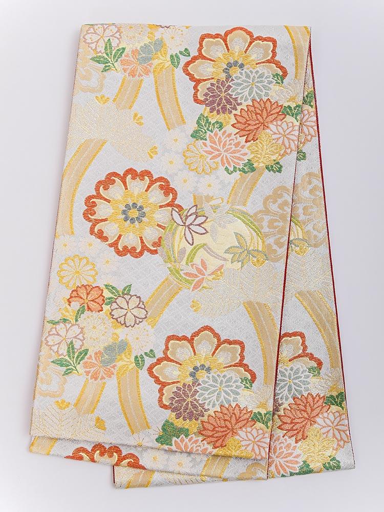 【高級振袖帯レンタル】obi-23-518 西陣織・長尺帯・立涌 サイズ 立涌と四季の花