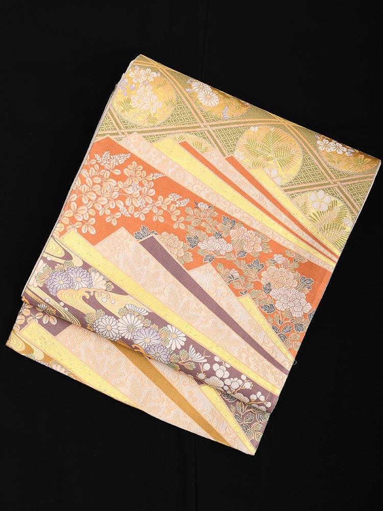【高級帯レンタル】obi-23-58 西陣織 四季の花 朱・紫 サイズ 四季の花