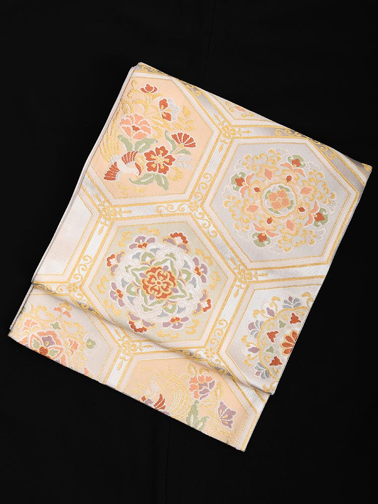 【高級帯レンタル】obi-23-61 西陣織 亀甲に花紋 サイズ 亀甲に花紋