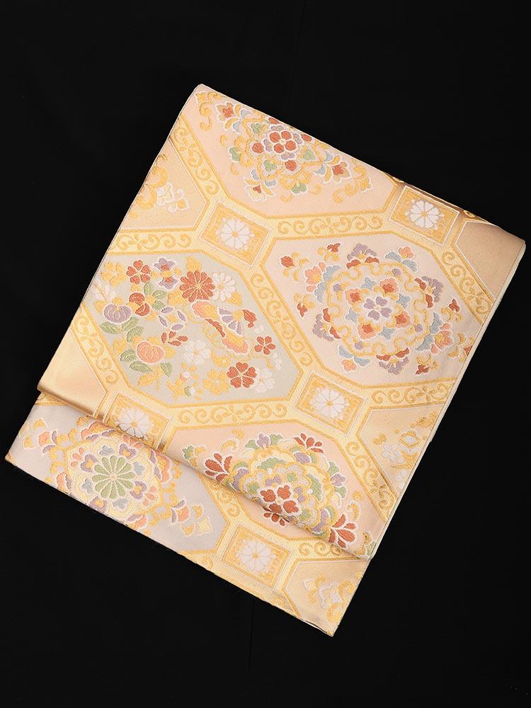 【高級帯レンタル】obi-23-62 西陣織 菱に花紋