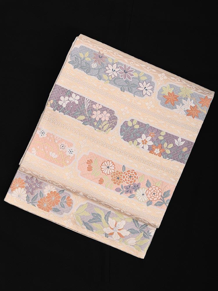 【高級帯レンタル】obi-23 西陣織 横段 四季の花 サイズ 四季の花