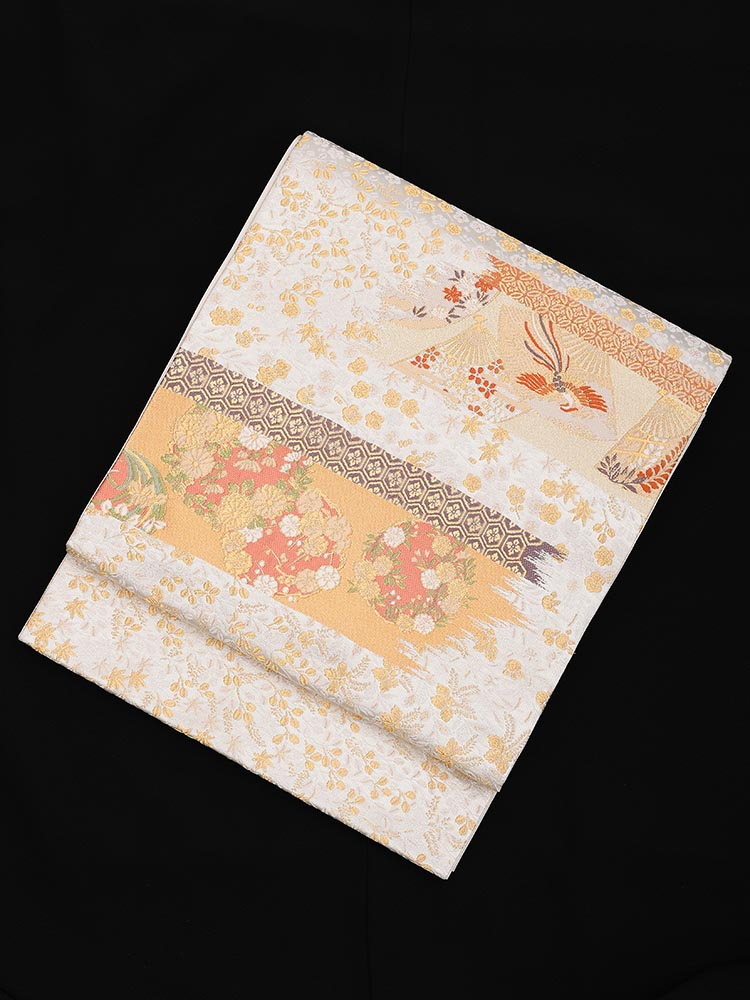 【高級帯レンタル】obi-24-272 加納幸謹製 四季の花 白 サイズ 四季の花