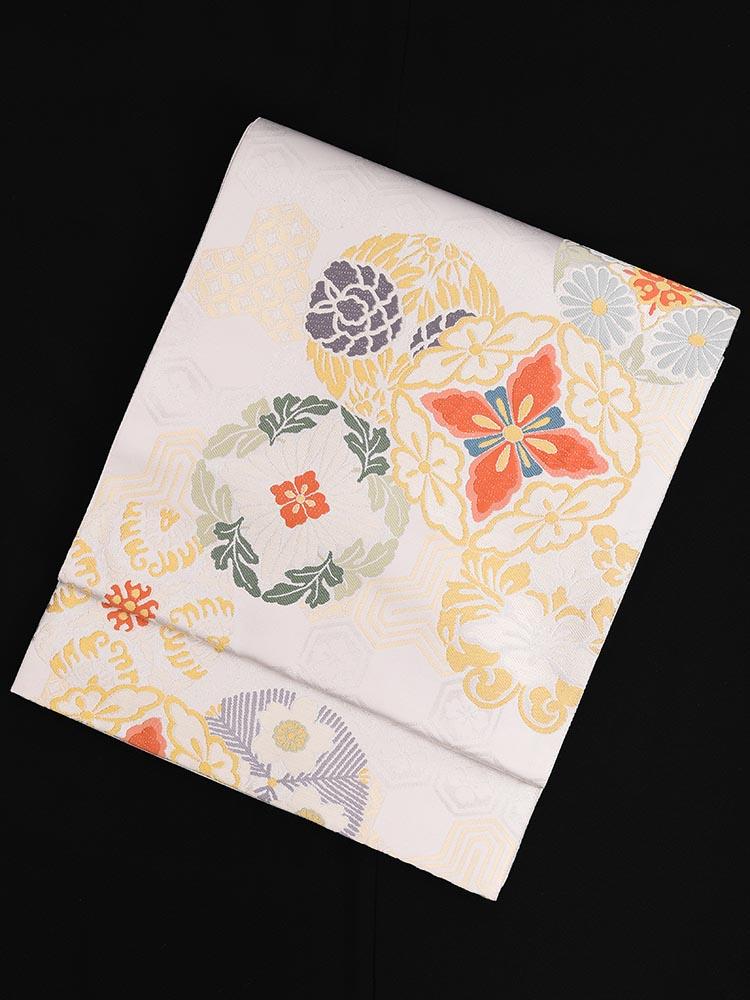 【高級帯レンタル】obi-24-275 となみ 白  花菱