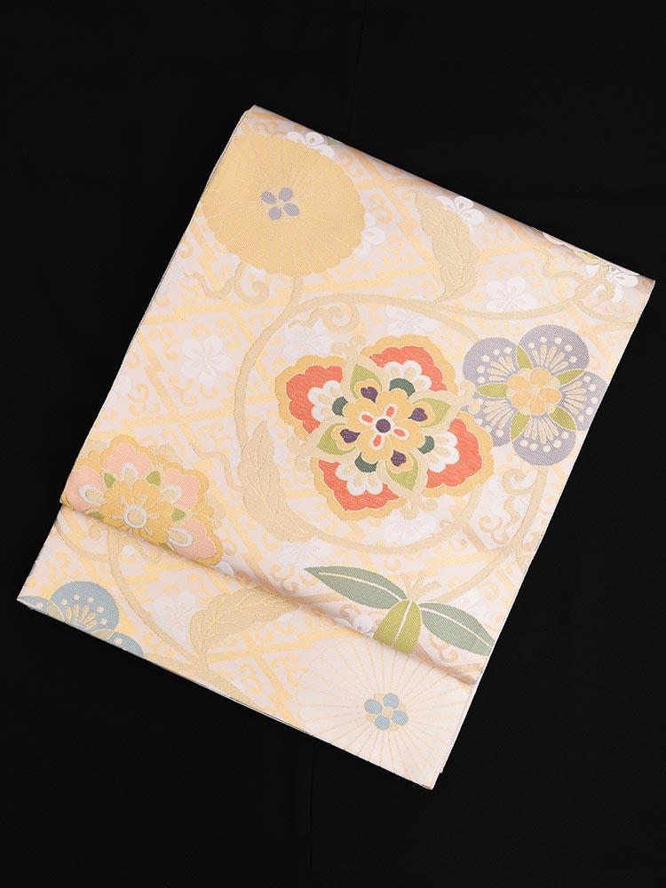 【高級帯レンタル】obi-24-276 となみ 金 サイズ 花々