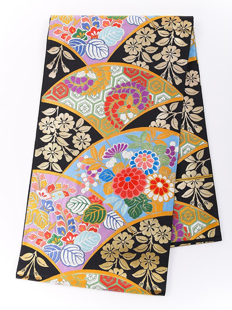 【高級振袖帯レンタル】obi-24-506 西陣織・地紙に四季の花 サイズ 地紙に四季の花