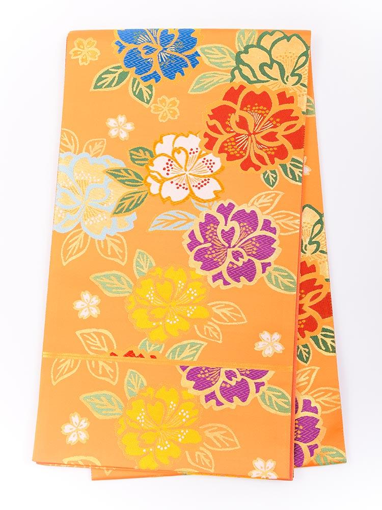 【高級振袖帯レンタル】obi-24-508 西陣織・オレンジ色ベースの桜柄 サイズ 桜
