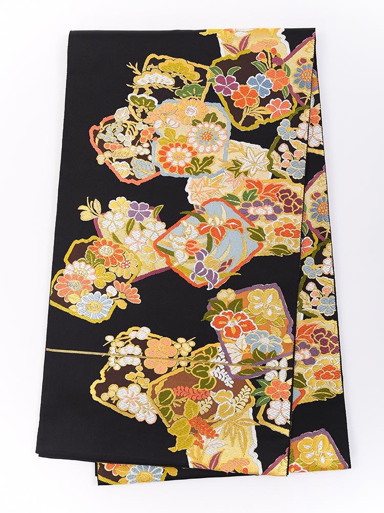 【高級振袖帯レンタル】obi-24-511 西陣織・黒地の四季の花々 サイズ 四季の花々