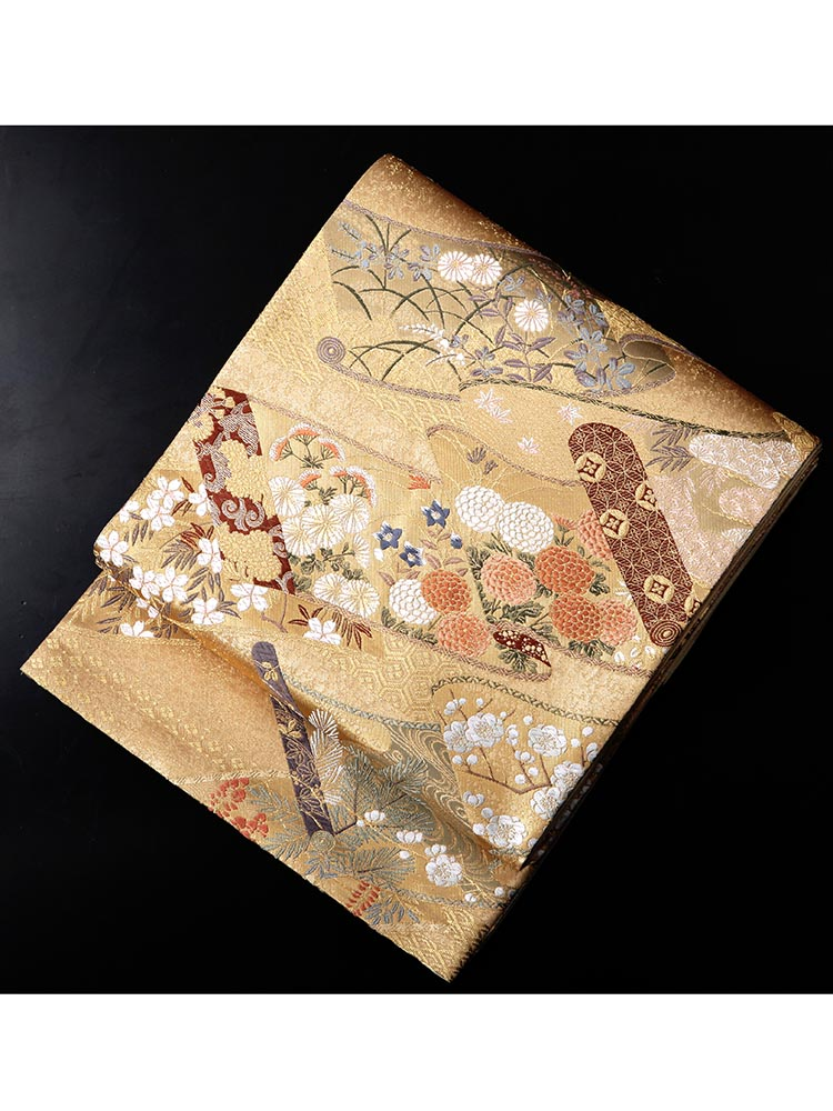 【高級帯レンタル】obi-24-75 ふくい 四季の花 サイズ 四季の花