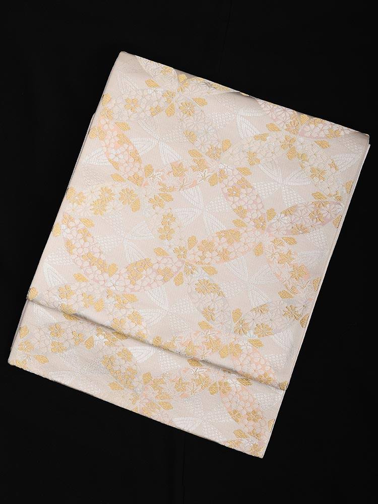 【高級帯レンタル】obi-24-82 小桜と小菊 サイズ 桜と菊