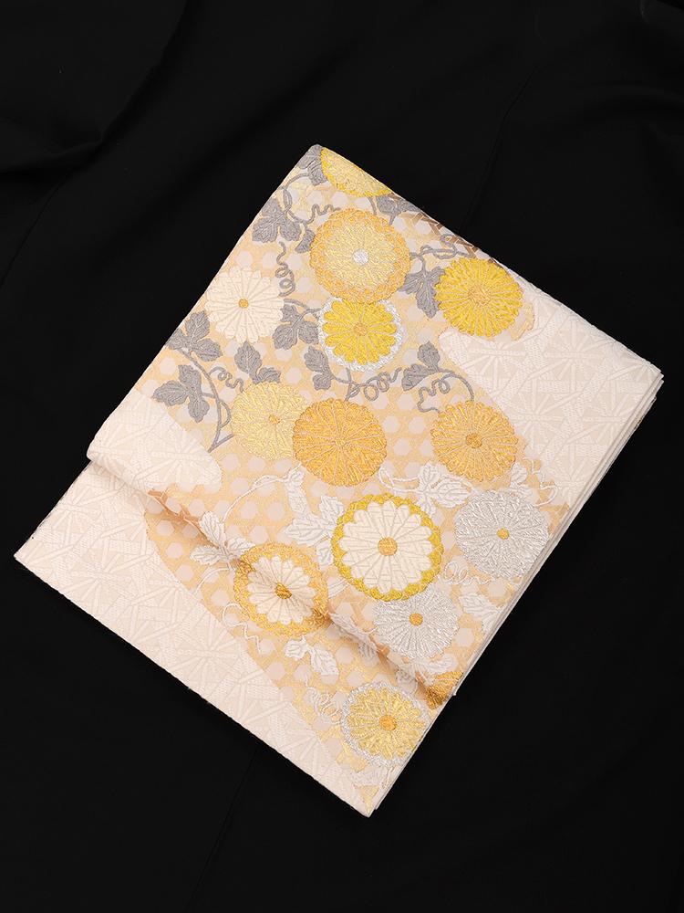 【高級帯レンタル】obi-25-278 山口美術織物 菊柄 サイズ 菊