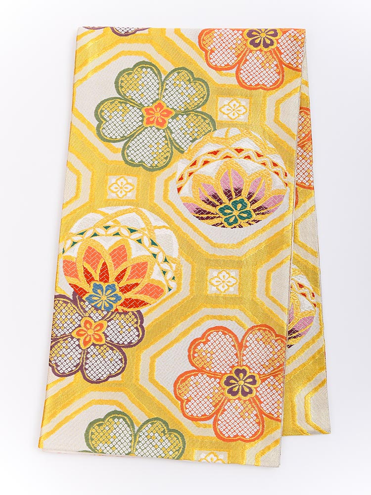 【高級振袖帯レンタル】obi-25-521 西陣織・蜀江に桜と毬 サイズ 蜀江に桜と毬